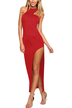 Red Cut Out Sleeveless Asymmetric Dress