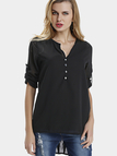 Black V-neck Long Sleeves Chiffon Shirt