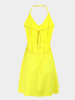 Yellow Halter Sleeveless Backless Strappy Back Mini Dress