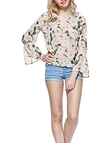 Floral Print V-neck Chiffon Flared Sleeve Top
