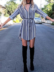 Fashion Stripe Pattern Curved Hem Shirt Dress
