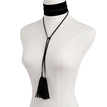 Black Tassel Design Velvet Ribbon Choker Necklace