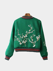 Fashion Embroidery Pattern Jacket In Green