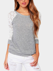 Simple Lace Details Round Neck Shirt