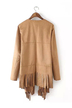 Khaki Long Fringed Suede Jacket