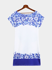 Random Blue and White Porcelain Bodycon Mini Dress