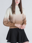 Slouchy High Neck Jumper in Gradient Khaki