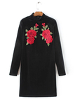 Black Rose Embroidery Pattern Perkins Neck Bodycon Dress