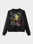 Black Fashion Embroidery Pattern Jacket With Zip Details