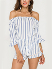 Stripe Pattern Off The Shoulder Drawstring Waist Playsuit with Flouncy Details