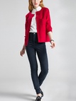 Red Chest Pocket Open Cardigan