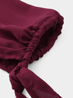 Burgundy Plain Off Shoulder Long Sleeves Blouses