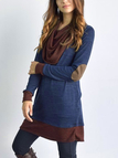 Blue & Brown 2-in-1 Scarf Collar Casual Dress