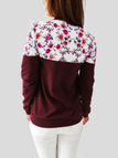 Burgundy Floral Print Patchwork Long Sleeves Sweatshirts