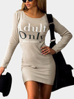 Beige Casual T-shirt Dress With Slogan Front