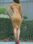 Yellow Sexy Open Back Slim Dress