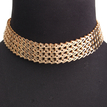 Gold Plated Metal Chain Wave Choker Necklace