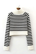 Stripe Knitted Crop Jumper in Black