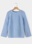 Blue Cozy Crew Neck Raglan Sleeves Sweater