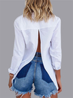 White Splited Back Basic Collar Long Sleeves Button-loop Front T-shirt