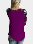 Purple Round Neck Floral Print T-shirt