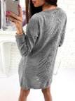 Grey Hollow Out Long Sleeves Cardigan Sweaters