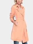 Orange Self-tie-belt Lapel Collar Single Button Trench Coat