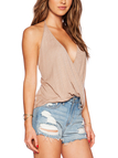 Beige Backless Self-tied Design Plain Deep V Neck Sleeveless Camis