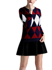 Geometric Printing Knitted Jumper & Mini Skirt with Pleated Hem Co-ords
