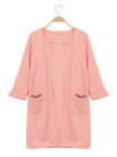 Pink Fashion Round Neck Long Coat