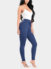 Blue High-waisted Elastic Pencil Pants with Lace-up Front Design