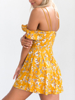 Yellow Random Floral Print V Neck Cold Shoulder Ruffle Dress