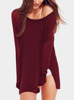 Burgundy Splited Design Plain One Shoulder Long Sleeves Knitted Top