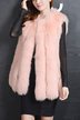 Pink Artificial Fox Fur Gilet