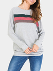 Light Grey Color-stitching Pullover Long Sleeves T-shirts