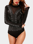 Black Sexy Backless Design Drill Bodysuit