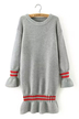 Gray Stripe Long Sleeve Knit Dress with Frill Detail