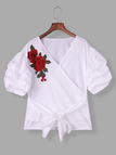 White Embroidered Ruffle Sleeves Self Tie Cross Front Blouses
