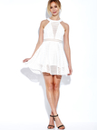 White Hollow Out Sleeveless Mini Dress with Crew Neck
