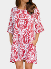 Red Floral Print Round Neck Bell Sleeves Dresses