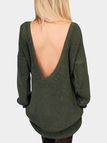 Green One shoulder Backless Sweater Dress