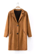 Tan Lapel Single Breasted Suedette Coat
