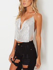 Silver  Metal Sequins Backless Camis
