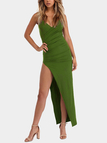 Green Pleated Design V-neck Sleeveless High-waisted Dresses