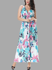 Плюс Размер Blue Wrap Front Maxi Dress in Floral Print