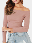 Lotus Plain Off The Shoulder Long Sleeves Crop Top