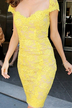 Yellow Skinny All Over Lace Party Dress