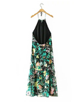 Floral Print Halter Neck Backless Maxi Dress