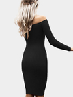 Black Sexy Off Shoulder Midi Bodycon Dress