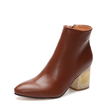 Brown Hollow Chunky Heels Short Boots with Side Zipper
